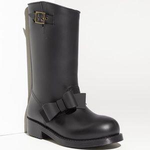 RED Valentino bow trim waterproof rain boot